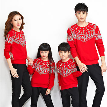 2016 spring autumn family matching outfits mother and daughter clothes family look father son sweatshirt pants women sport suit