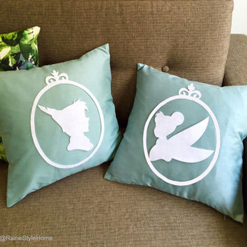 Hand Cut Peter Pan And Tinkerbell Cameo Decorative Sage Green Pillow Covers Set. 16inch Wonerland Children Room Pillow Case. Nursery Decor
