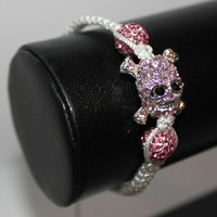 Bracelet Skull Head Crystal - White with Pink Crystals