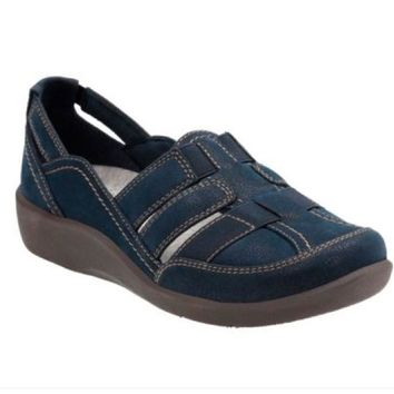 Clarks Cloudsteppers Sillian Stork Navy Synethtic Nubuck Slip On Shoes