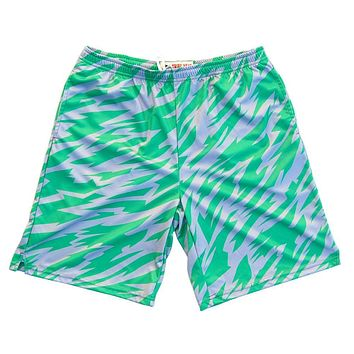 Green and Cool Grey Two-Tone Camo Sublimated Lacrosse Shorts