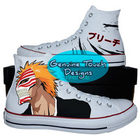 Hand Painted, Bleach Anime, Fanart shoes, Custom converse, Birthday Gifts, Christmas Gifts, Art work anime shoes,