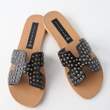 Greece Studded Black Leather Slide Sandals