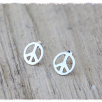 Studded Peace Earrings