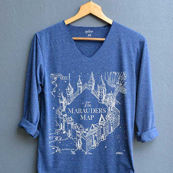 The Marauder's Map Design Shirt Harry Potter Map Shirts V-Neck Navy Blue Unisex Adult Size S M L