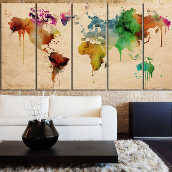 Large WORLD MAP Canvas Print Art Drawing on Old Paper - Watercolor World Map 5 Piece Canvas Art Print - Ready to Hang - Colorful World Map