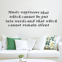 Wall Decals Quote Music Expresses That Which Cannot Be Decal Vinyl Sticker Home Art Music Store Art Mural Bedroom Home Decor Ms512