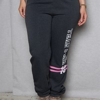 Luscious Cream Team Pink Plus-Size Sweatpants With Striped High Rise Waistband  - Charcoal