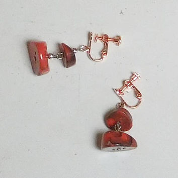 Lightweight Red Clip On Earrings, Wide, Thick, Marble Look, Plastic Beads, Hippie Jewelry, Boho Bead Clip Ons