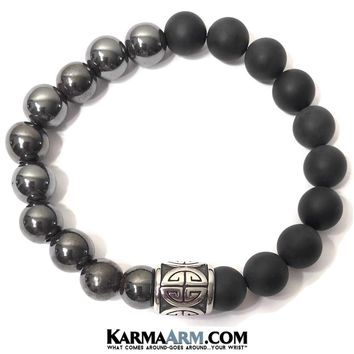 GOOD FORTUNE: Black Onyx | Hematite | Good Luck Symbol Yoga Chakra Bracelet