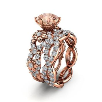 Special Reserved - Peach Pink Morganite Engagement Ring in 14K Rose Gold - second payment