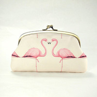 Double coin purse / Pink Flamingos / two compartments purse/ peach pink/ dusty pink/ all purpose clutch purse