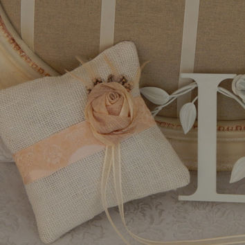 Rustic Burlap Ring Bearer Pillow