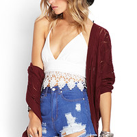 FOREVER 21 Frayed Denim Cutoffs Blue