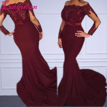 African Mermaid Evening Gowns Burgundy Off Shoulder Sequins Sash Long Sleeves Prom Dress 2018 Dubai Arabic Party Gowns