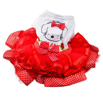 Pet Cat Princess Dress Doggie Print Bubble Skirt Puppy Clothes Dog Apparel Skirt Teddy Princess Dresses