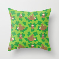 Stanley Sloth Throw Pillow by Joanne Paynter