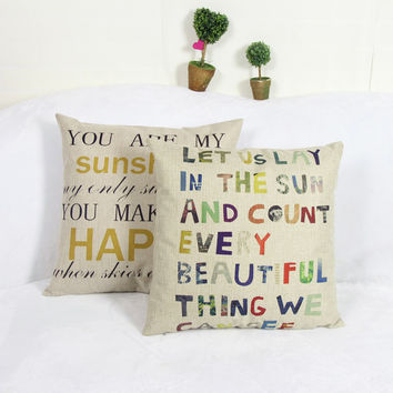 YOU ARE MY SUNSHINE print dining chair cushion cotton linen 45x45cm car seat cushions Home decorative pillow for sofa MYJ