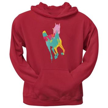 LMFCY8 Splatter Horse Red Adult Pullover Hoodie