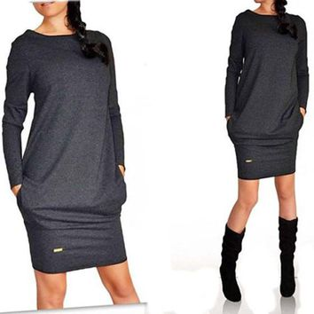Black Plain Irregular Pockets Round Neck Long Sleeve Casual Loose Cotton Blend Mini Dress
