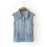 Denim Sleeveless Collared Button Shirt