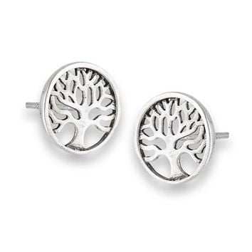 Tree of Life Stud Earrings Sterling Silver