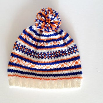 Fair Isle Hat, knit hat, kids hat, childrens clothes, childrens hat, pompom hat, knit beanie, toddler winter hat, childrens knits