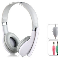Kanen KM1080 Fashionable 3.5 mm On-ear Stereo Gaming Headphones with Microphone & 2.0 m Cable (White)