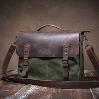 Messenger bag - canvas messenger bag - waxed canvas messenger - leather messenger bag - messenger bag men -mens messenger bag -crossbody bag
