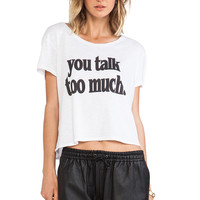 Feel the Piece x Tyler Jacobs You Talk Too Much Crop Tee in White