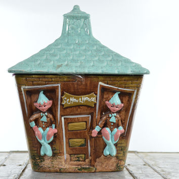 Pixie Elf Cookie Jar School House with Turquoise Top California Original Pottery