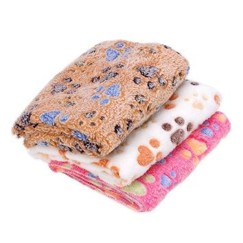 3 Size Dog Beds Mats Cute Pet Puppy Paw Print Bed Mat Coral Fleece Soft Cat Dog House Blanket Pet Carpet Winter Supplies