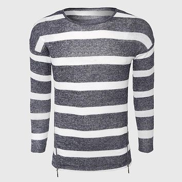 Grey White Striped Sweaters Men Cotton Cable Knit Sweater Classic O Neck Casual Sweater Zipper Sailor Designer Detail