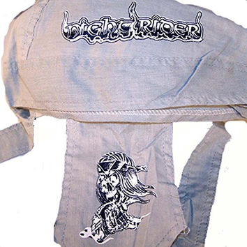 Night Rider Skeleton Biker on Motorcycle Bandanna Wrap Do Rag Hat
