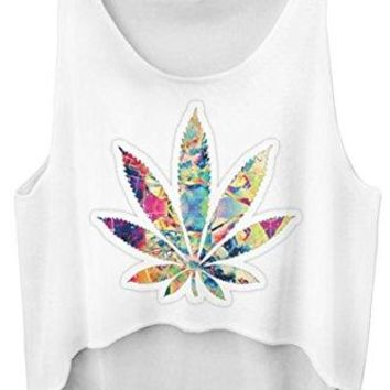 Pink Wind Juniors Marijuana Leaf Print Sleeveless Shirt Crop Tops Streetwear
