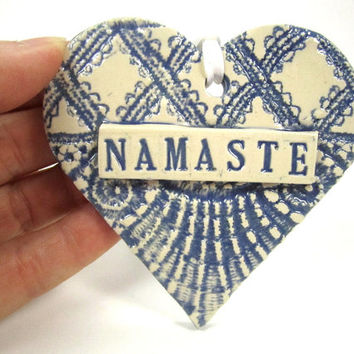 Namaste Ornament, Namaste Sign, Meditation Heart, Boho Decor, Boho Ornament, Sanskrit Word, Yoga Decor, Boho Heart, Bohemian Decor
