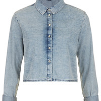 MOTO Acid Crop Denim Shirt - Back In Stock - New In - Topshop USA