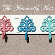 Wood and Iron Hook // Beach Colors // Fiesta Ware Colors // Coat Hook // Towel Hook // Jewelry Hook // Bath Decor // Kitchen Decor //mermaid