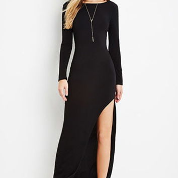 Asymmetrical-Hem Maxi Dress