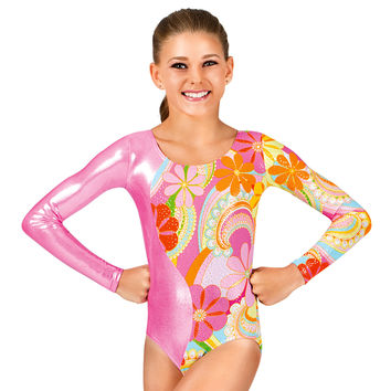 Child Gymnastics Long Sleeve Metallic Flower Leotard