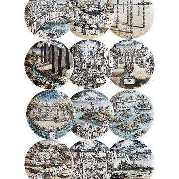 DCCKIN3 Fornasetti set of 12 scenic playing cards printed plates