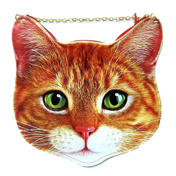 Kitty Cat Head Shaped Tabby Vinyl Animal Themed Cross Shoulder Bag in Orange | DOTOLY