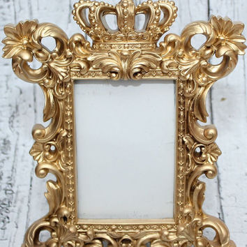 Gold Crown Frame // ornate picture frame// Unique frame // Gold decor  // Resin Frame // 4x6 Frame // Gold Frame // Crown Decor // Princess