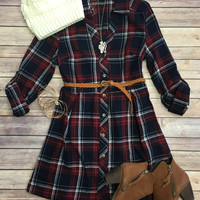 Country Mile Plaid Belted Tunic: Blue