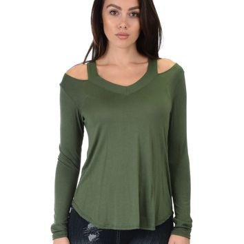 Lyss Loo Cut Me Out Cold Shoulder Olive Long Sleeve Top