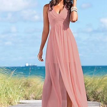 Blush (BS) Double Slit Maxi Dress