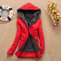 Womens Long Sleeve Fleece Inside Jacket Hoodies Hoody Outerwear Coats Outwears