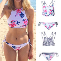 Cross1946 New Arrival Hot Women Printing Floral Padded Bikini Set Sexy High Neck Swimsuit Ladies Beach Bathing Suit swimwear