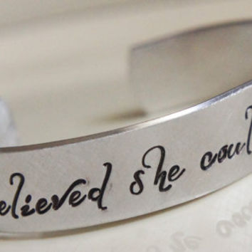 Personalized Cuff Bracelet She Believed She Could So She Did Custom Inspirational Motivational Stamped Cuff Bangle Gift for Her Graduate