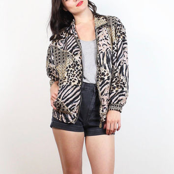 Vintage 80s Bomber Jacket Black Tan Gold Leopard Tiger Animal Print Windbreaker 1980s Sporty Girl Athletic Slouch Track Warm Up S M Medium
